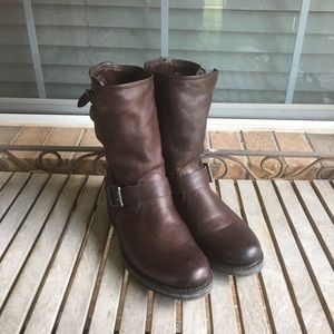 Frye Veronica Short Slouchy Brown Boots
